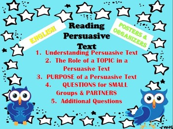 Posters for Reading a Persuasive Text (ENGLISH) & Writing