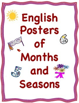 Posters or Cards of the Months and the Four Seasons (in English)