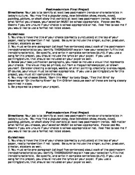 Postmodernism Final Project - Identifying Characteristics