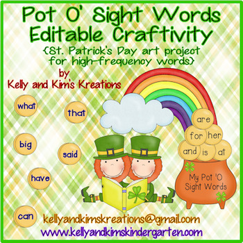 Pot O' Sight Words Editable Craftivity
