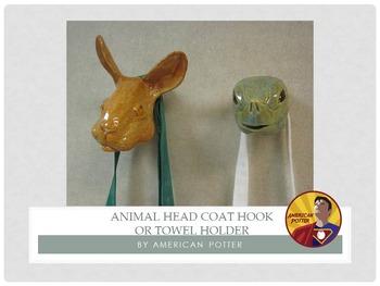 Pottery: Animal Head Coat Hook or Towel Holder