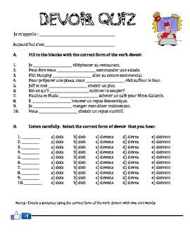 Pouvoir and Devoir quizzes/activities