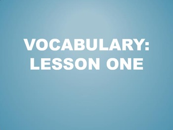 Power Plus Vocabulary:Book One: Lesson One