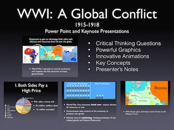 "World War 1 ""A Global Conflict"" 1915-1918 PowerPoint / Key"