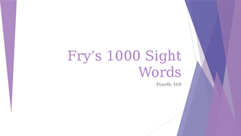 Power Point Presentation of Fry's 400 words