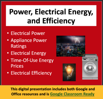 Power, Electrical Energy and Efficiency - PowerPoint Lesso