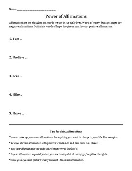 Power of Affirmations: Positive Self-Talk worksheet