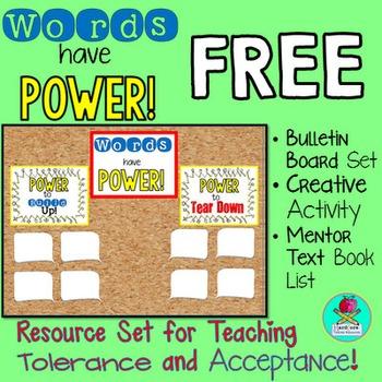Power of Words FREEBIE Bulletin Board Creative Activity Bo