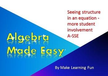 PowerPoint High School Algebra CCSS  A-SSE Equation