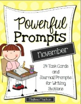 Writing Prompts-November {Task Cards and Journal Prompts f