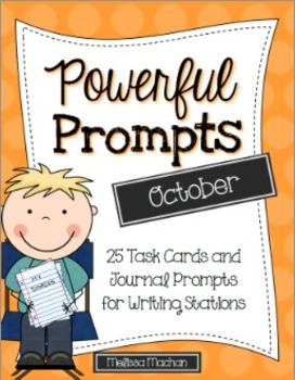 Writing Prompts-October {Task Cards and Journal Prompts fo