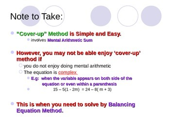 Powerpoint slides for Solving Linear Equations