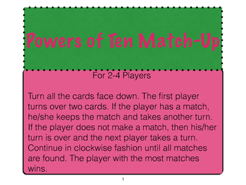 Powers of Ten Match-Up with Differentiation Set
