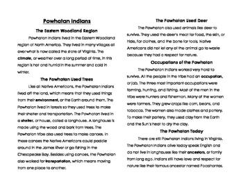 Powhatan Indian Interactive Notebook