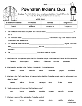Powhatan Indians Quiz