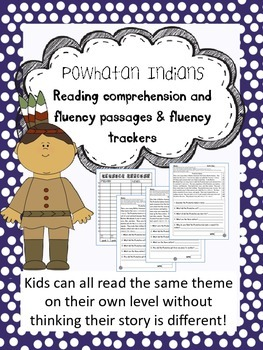 Powhatan Indians fluency and comprehension leveled passages