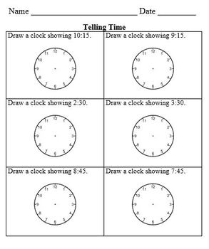 Pracket Packet on Telling Time