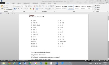 Practica con Numeros #3 (Practice with Numbers #3)