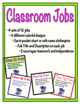 Practical Classroom Jobs with Descriptions for Elementary