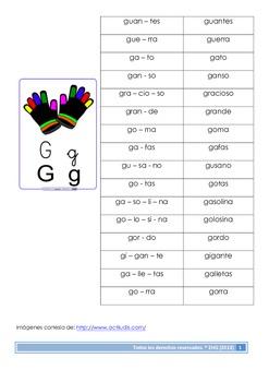 Practicando palabras con la letra G