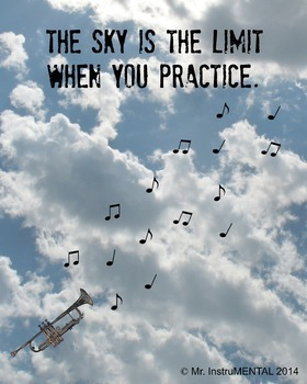 Practice Encouragement Posters - one trumpet, one violin