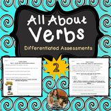 Verb Assessments- 2 Leveled Quizzes (BW and Color)