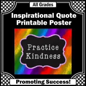 Poster Rainbow Theme Decor Classroom Rules Quote Practice