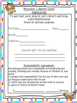 Practice Library Card Application Summer Reading