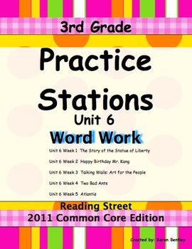 Practice Stations: Unit 6, Word Work, 3rd Grade, Reading S