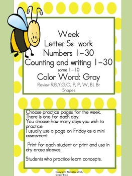 Practice Work:  Letter Ss week work, Numbers 1-30, color w