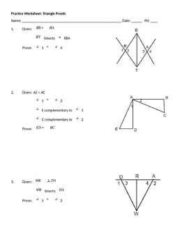 Practice Worksheet #1: Triangle Proofs