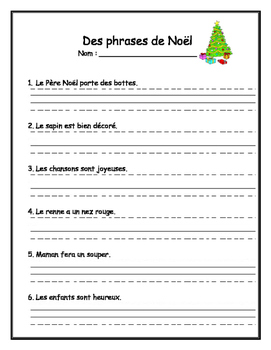 Practice Writing - Christmas sentences in French