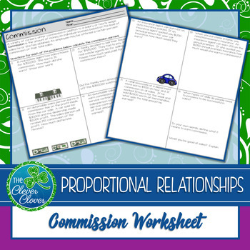 Commission Worksheets - 7.RP.3