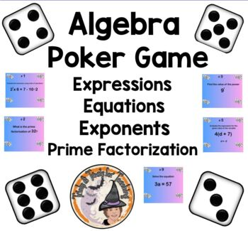 Practice Poker Problems Algebra Game Expressions Equations