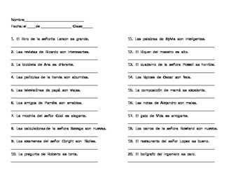 Spanish Grammar: Practice with Possessive Adjectives