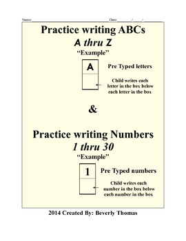 Practice writing letters and numbers for PreK and older