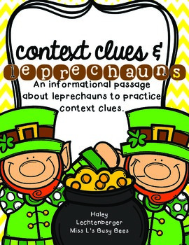 FREE! Practicing Context Clues with Leprechauns