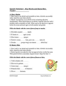 Muy and mucho Bueno and Bien Worksheet