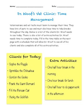 Practicing Time Management and Scheduling - Veterinarian Themed