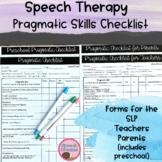 Pragmatic Checklists Informal Assessment {IEP Goals Speech