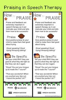 Praising in Speech Therapy Handout