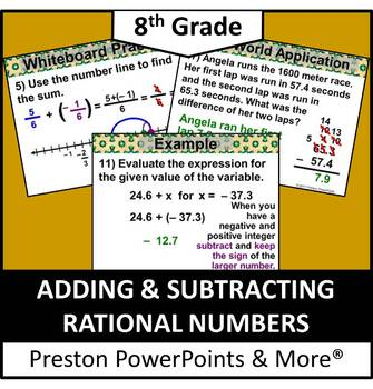 (8th) Adding and Subtracting Rational Numbers in a PowerPo