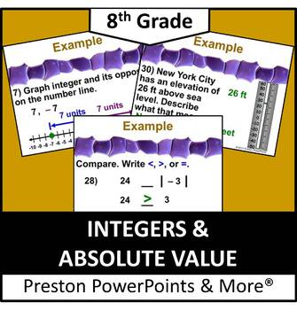 (8th) Integers and Absolute Value in a PowerPoint Presentation