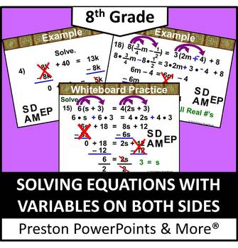 (8th) Solving Equations with Variables on Both Sides in a