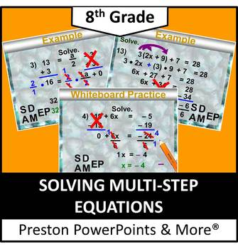 (8th) Solving Multi-Step Equations in a PowerPoint Presentation