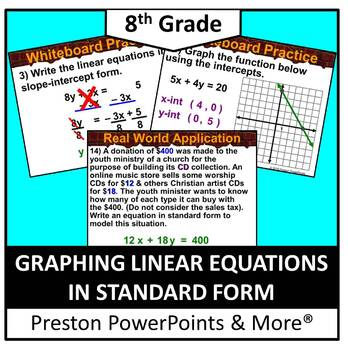 (8th) Graphing Linear Equations in Standard Form in a Powe