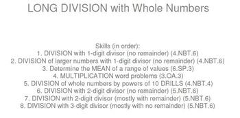 HS [Remedial] Pre-Algebra A UNIT 6:Long Division (4 worksh