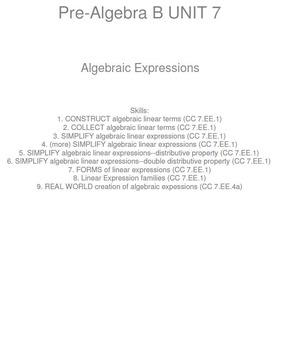 HS [Remedial] Pre-Algebra B UNIT 7:Algebraic Expressions(4