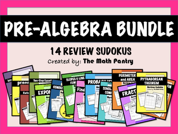 Pre-Algebra Bundle - 14 Review Sudokus
