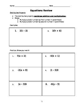 Pre-Algebra Equations Review Packet